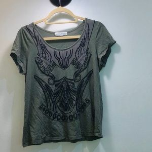 Graphic matte sequined T-shirt